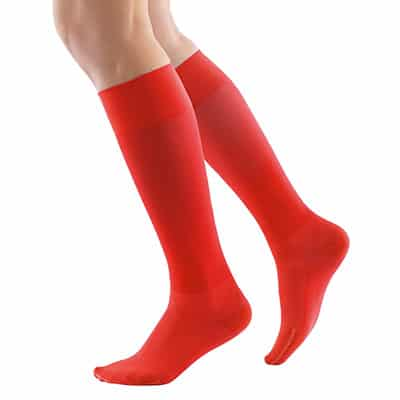 Röd Bauerfeind Compression Socks Bästa kompressionsstrumpan för uthållighet återhämtning och hälsena hälsenor