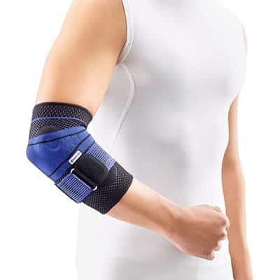 Bauerfeind EpiTrain Svart Armbågsskydd Titan armbågsstöd lindrar och läker irriterade områden i armbågen.