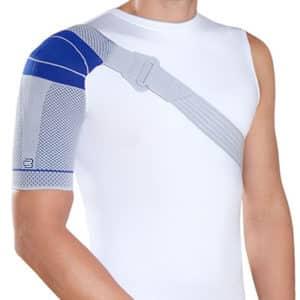 Bauerfeind OmoTrain S är ett aktivt axelstöd skydd som masserar och hindrar smärtsamma rörelser