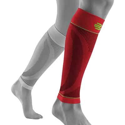 Röd Bauerfeind Sports Vadsleeves Främjar blodcirkulationen och påskyndar återhämtningen
