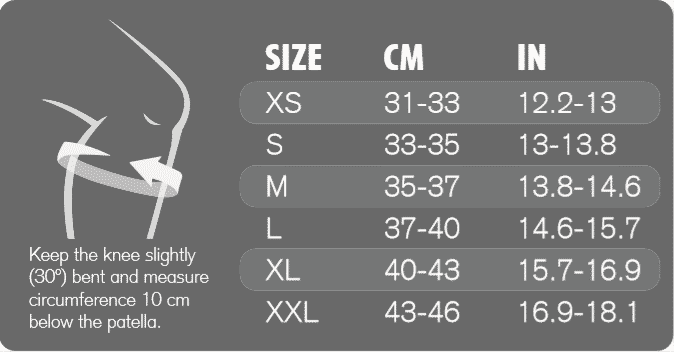 UD stable Knee Brace storleksguide