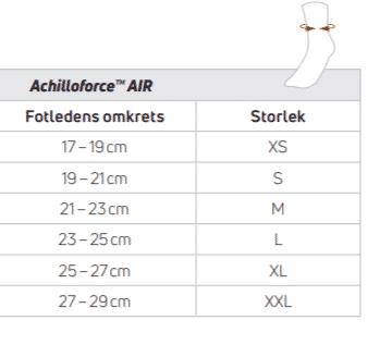 Donjoy Achilleoforce air storleksguide